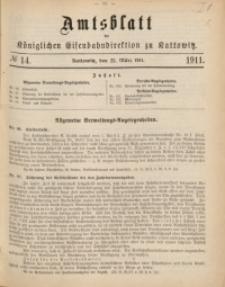 Amtsblatt der Königlichen Eisenbahndirektion zu Kattowitz, 1911, nr14