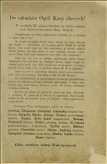 Odezwa w związku z wyborami Ogólnymi Kasy Chorych w dniu 27.03.
