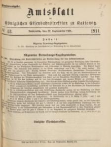 Amtsblatt der Königlichen Eisenbahndirektion zu Kattowitz, 1911, nr43