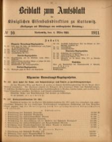 Beiblatt zum Amtsblatt der Königlischen Eisenbahndirektion zu Kattowitz, 1911, nr10