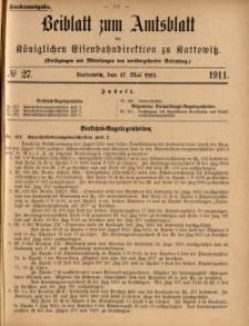 Beiblatt zum Amtsblatt der Königlischen Eisenbahndirektion zu Kattowitz, 1911, nr27