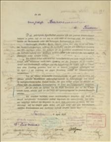 Odezwa 6 aptekarzy z Cieszyna, Jabłonkowa i Trzyńca do Powiatowej Kasy Chorych przedstawiająca sprawę podwyższenia cen składników lekarstw i w związku z tym potrzebę podniesienia opłat za lekarstwa dla członków Kasy Chorych w Cieszynie - Cieszyn, 06.04.1919 r.