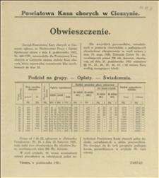 Obwieszczenie Zarządu Powiatowej Kasy Chorych w Cieszynie o zmianie statutu Kasy Chorych która wprowadza rozszerzenia klas zarobkowych na podstawie aktu Ministerstwa Pracy i Opieki Społecznej z dnia 08.10.1921 r. - Cieszyn, 10.1921