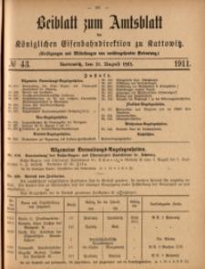 Beiblatt zum Amtsblatt der Königlischen Eisenbahndirektion zu Kattowitz, 1911, nr43