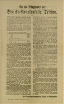 """Odezwa podpisana przez """"Komisję Związków zawodowych jako komitet wyborczy"""" polemizująca z """"Połączonym Mieszczańskim Komitetem Wyborczym"""" i przedstawiająca osiągnięcia kasy chorych w okresie rządów socjalistów"""
