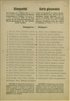 Karta głosowania w wyborach delegatów na walne zgromadzenie Powiatowej Kasy Chorych dla cieszyńskiego powiatu sądowego w dniu 01.10.1911 r. - grupa pracodawców (39 osób)