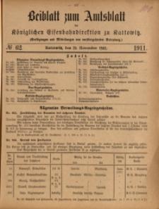 Beiblatt zum Amtsblatt der Königlischen Eisenbahndirektion zu Kattowitz, 1911, nr62