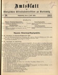 Amtsblatt der Königlichen Eisenbahndirektion zu Kattowitz, 1912, nr29