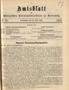 Amtsblatt der Königlichen Eisenbahndirektion zu Kattowitz, 1912, nr31