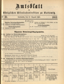 Amtsblatt der Königlichen Eisenbahndirektion zu Kattowitz, 1912, nr35