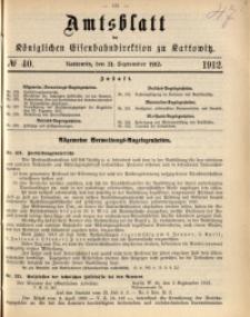 Amtsblatt der Königlichen Eisenbahndirektion zu Kattowitz, 1912, nr40