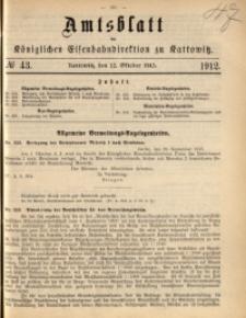 Amtsblatt der Königlichen Eisenbahndirektion zu Kattowitz, 1912, nr43
