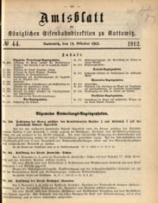 Amtsblatt der Königlichen Eisenbahndirektion zu Kattowitz, 1912, nr44