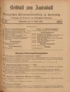 Beiblatt zum Amtsblatt der Königlischen Eisenbahndirektion zu Kattowitz, 1912, nr13