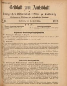 Beiblatt zum Amtsblatt der Königlischen Eisenbahndirektion zu Kattowitz, 1912, nr19