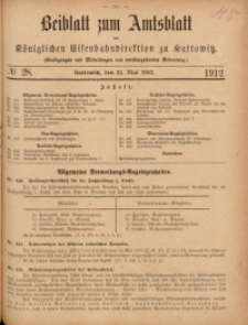 Beiblatt zum Amtsblatt der Königlischen Eisenbahndirektion zu Kattowitz, 1912, nr28