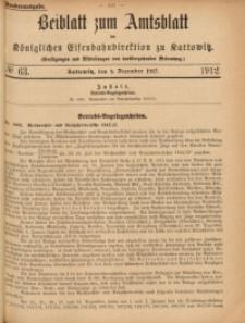 Beiblatt zum Amtsblatt der Königlischen Eisenbahndirektion zu Kattowitz, 1912, nr63