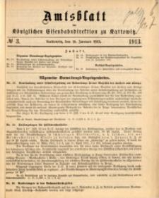 Amtsblatt der Königlichen Eisenbahndirektion zu Kattowitz, 1913, nr3