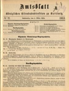 Amtsblatt der Königlichen Eisenbahndirektion zu Kattowitz, 1913, nr11