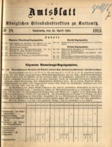 Amtsblatt der Königlichen Eisenbahndirektion zu Kattowitz, 1913, nr18