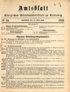 Amtsblatt der Königlichen Eisenbahndirektion zu Kattowitz, 1913, nr34