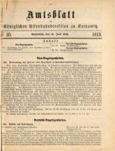 Amtsblatt der Königlichen Eisenbahndirektion zu Kattowitz, 1913, nr35