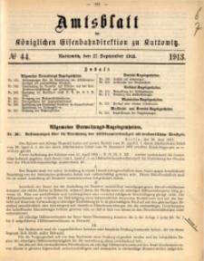 Amtsblatt der Königlichen Eisenbahndirektion zu Kattowitz, 1913, nr44
