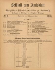 Beiblatt zum Amtsblatt der Königlischen Eisenbahndirektion zu Kattowitz, 1913, nr2