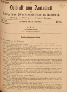 Beiblatt zum Amtsblatt der Königlischen Eisenbahndirektion zu Kattowitz, 1913, nr32