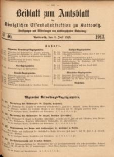 Beiblatt zum Amtsblatt der Königlischen Eisenbahndirektion zu Kattowitz, 1913, nr40