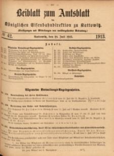 Beiblatt zum Amtsblatt der Königlischen Eisenbahndirektion zu Kattowitz, 1913, nr42