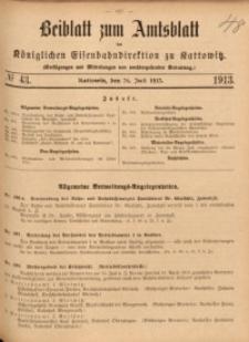 Beiblatt zum Amtsblatt der Königlischen Eisenbahndirektion zu Kattowitz, 1913, nr43