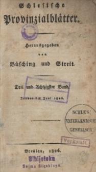 Schlesische Provinzialblätter, 1826, 83. Bd. 1. St.: Januar