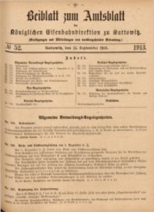 Beiblatt zum Amtsblatt der Königlischen Eisenbahndirektion zu Kattowitz, 1913, nr52