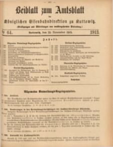 Beiblatt zum Amtsblatt der Königlischen Eisenbahndirektion zu Kattowitz, 1913, nr64