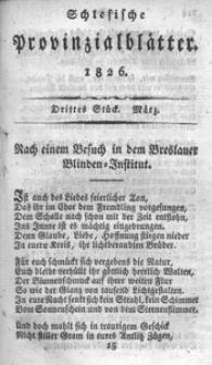 Schlesische Provinzialblätter, 1826, 83. Bd. 3. St.: März