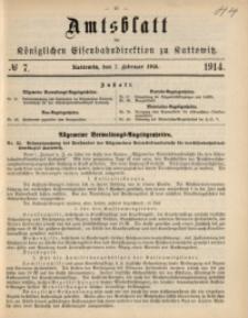 Amtsblatt der Königlichen Eisenbahndirektion zu Kattowitz, 1914, nr7