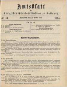 Amtsblatt der Königlichen Eisenbahndirektion zu Kattowitz, 1914, nr13