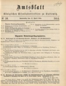 Amtsblatt der Königlichen Eisenbahndirektion zu Kattowitz, 1914, nr16