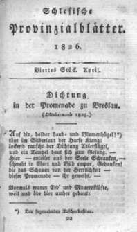 Schlesische Provinzialblätter, 1826, 83. Bd. 4. St.: April