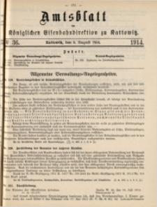 Amtsblatt der Königlichen Eisenbahndirektion zu Kattowitz, 1914, nr36
