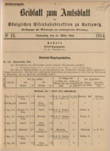 Beiblatt zum Amtsblatt der Königlischen Eisenbahndirektion zu Kattowitz, 1914, nr11