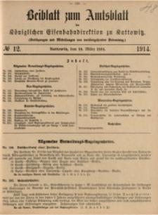 Beiblatt zum Amtsblatt der Königlischen Eisenbahndirektion zu Kattowitz, 1914, nr12