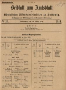 Beiblatt zum Amtsblatt der Königlischen Eisenbahndirektion zu Kattowitz, 1914, nr15