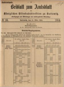 Beiblatt zum Amtsblatt der Königlischen Eisenbahndirektion zu Kattowitz, 1914, nr16