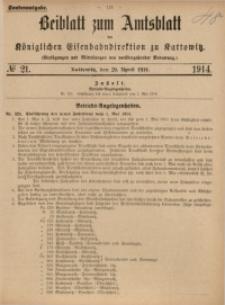 Beiblatt zum Amtsblatt der Königlischen Eisenbahndirektion zu Kattowitz, 1914, nr21