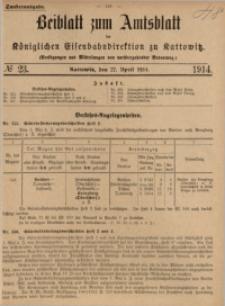Beiblatt zum Amtsblatt der Königlischen Eisenbahndirektion zu Kattowitz, 1914, nr23