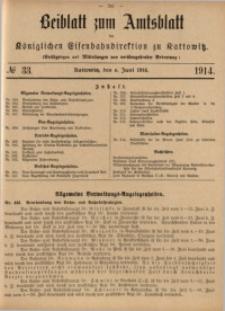 Beiblatt zum Amtsblatt der Königlischen Eisenbahndirektion zu Kattowitz, 1914, nr33