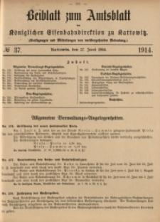 Beiblatt zum Amtsblatt der Königlischen Eisenbahndirektion zu Kattowitz, 1914, nr37