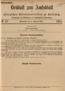 Beiblatt zum Amtsblatt der Königlischen Eisenbahndirektion zu Kattowitz, 1914, nr47